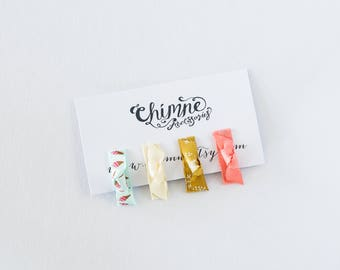 Baby Hair Snap Clip / Icecream Tiny Clips / Infant Hair Clips / Clips / Set of 4 Snap Clips / Coral, Cream, Mustard Snowflake