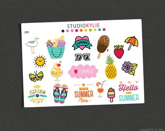Summer Time  - Planner Stickers -  Repositionable Matte Vinyl  - Suits All Planners