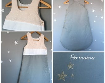 Swaddle baby girl 6-18 months pink, gray, white and gold glitter with stars