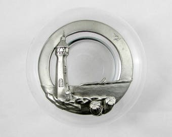 Lighthouse Pewter Trinket Dish, Glass Potpourri Bowl with Pewter Lid, Lighthouse Design, Blue Mist Pewter, Vintage, Made in Canada