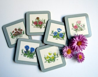 Coasters by Clover Leaf Alpine Flowers botanical illustrations by Wendy Keay gilded edge cork backed set of 6 vintage unused gardener gift