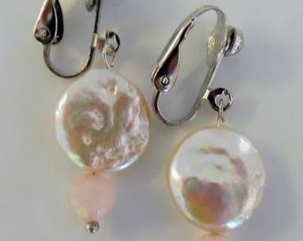 Clip on earrings-pink earrings-pearl earrings-gemstone earrings-semi precious earrings-handcrafted-one off-freshwater pearls-rose quartz