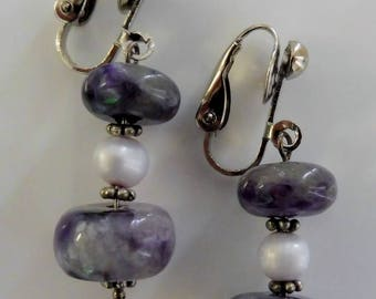 Clip on earrings-purple earrings-lilac earrings-gemstone earrings-semi precious earrings-handcrafted-one off-pearl earrings