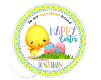 """Custom Happy Easter Printable 2.5"""" Tags-Easter Holidays D.I.Y Tags- Personalized Stickers (You Print) 2.5"""" tags-Digital file"""