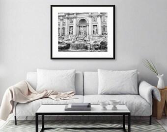 Rome Photography, Trevi Fountain, Black and White, Wall Art Print, Italy Photography, Travel Decor, Europe Wall Art