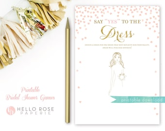 Say Yes to the Dress Bridal Shower Game . Printable Instant Download . Pink and Gold . Gold Glitter . Digital Download . Bridal Shower Games