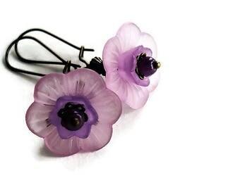 Flower Earrings Lavender Jewelry Vintage Style Long Earrings Floral Jewelry Bohemian Earrings  Romantic Jewelry Purple Earrings Gift For Her
