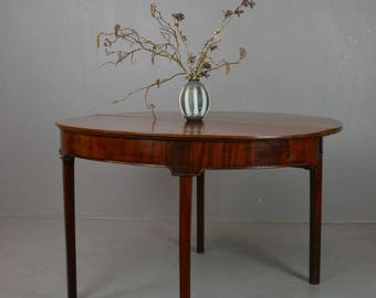 Victorian Mahogany Folding Demi Lune Tea Table