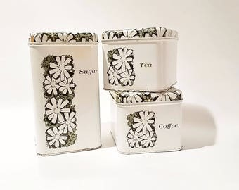 Kitchen Canisters, Canister Set, Farmhouse Kitchen Decor, Daisy Kitchen Canisters