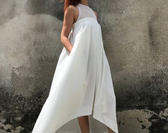 White Summer Dress, White Maxi Dress, White Kaftan, Plus Size Kaftan Dress, Asymmetric Dress, Cocktail Dress, Elegant Dress, Beach Dress