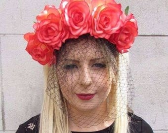 Large Orange Black Rose Flower Veil Headband Sugar Skull Goth Halloween 3623
