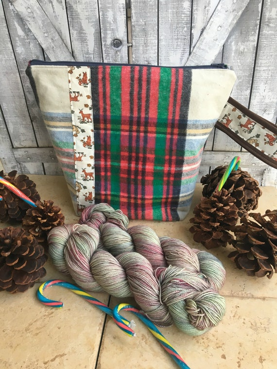 Christmas At Toad Hollow Hand Dyed Yarn and Project Bag, Indie Dyed Yarn, Toad Hollow Yarn, Knitting Project Bag, Crochet Project Bag