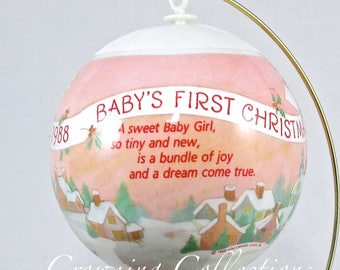 1988 Hallmark Baby's First Christmas Ornament Girl Satin Ball Unbreakable 1st Pink Vintage Keepsake RARE HTF