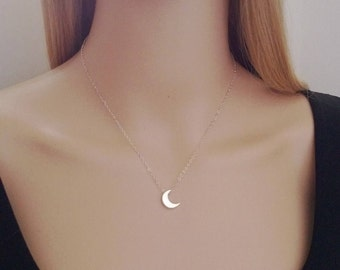 Sterling silver moon necklace; cresent moon necklace; silver moon necklace; small moon necklace; simple necklace sterling silver
