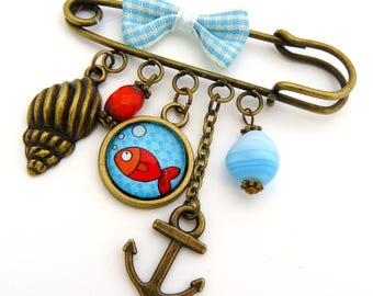 Goldfish and turquoise pin