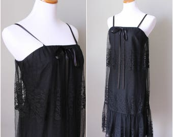 1970s Black Lace Night Gown