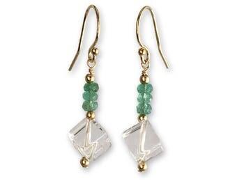 Wife Gift Earrings - Girlfriend Romantic Jewelry - Emerald Jewelry for Women - Emerald Earrings for Women -  Gold - Silver - Rose Gold