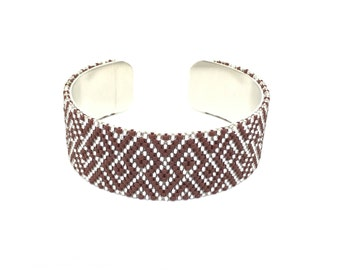 Burgundy and silver Japanese beads woven cuff