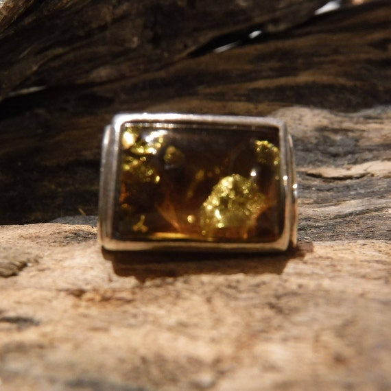 Vintage Mens Silver Ring Amber Sterling Silver Ring 925 Sterling Signed VB Size 7 Heavy 9.2 Grams Mens Silver Ring  Mens ring Unisex Ring