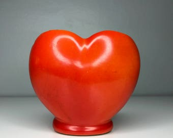 vintage ceramic red heart and planter or vase