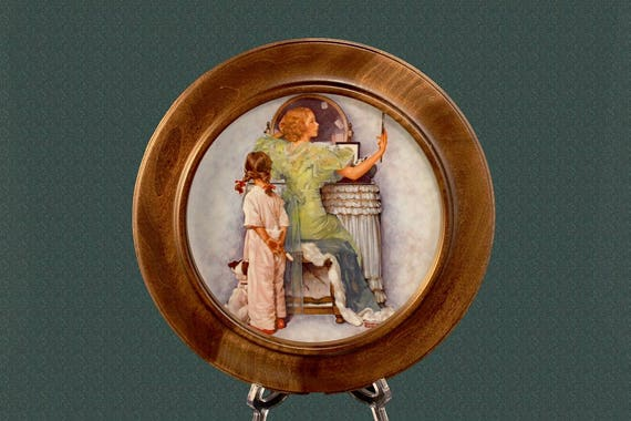 Royal Devon Framed Plate, Norman Rockwell, 1979 Mother's Day, Mother's Evening Out, Collectible, Home Decor, Wall Plate, Mother's Day Gift