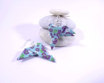 Earrings blue Origami birds with purple and white flowers