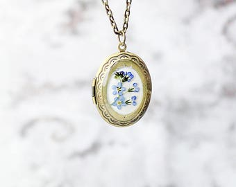 locket necklace blue jewelry gift wife birthday gift terrarium necklace photo necklace girlfriend gifts dainty necklace memory gift Рю195