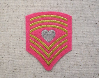 Pink Military Chevron - Shield with Heart - Iron on Applique - Embroidered Patch - 621022-A
