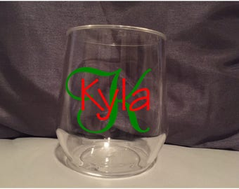 Initial and Name stemless wine glass; Personalized glass, Birthday Gift, Teacher gift