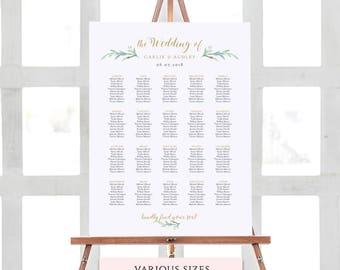 Greenery wedding seating chart table plan templates | 6 sizes included | Portrait + Landscape shaped PDF templates included. Edit in ACROBAT