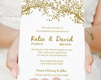 """Gold Invitation, Gold Wedding Invitation, Tree Invitation Customisable Printable Template, 5x7"""", 2 per page, Edit in WORD or PAGES"""