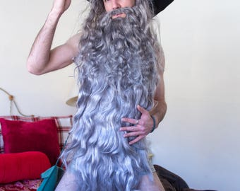 The Grey Witch or Wizard ~ Extra Large White Suede Witch or Wizard Hat