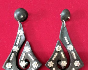 Sliver Wooden Earring Handmade Gift for Girls and Women Light Weight Hanging