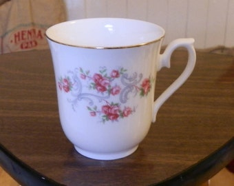 Vintage Queen Anne Pink Floral Bone China Small Tea / Coffee Mug / Cup, Made in England