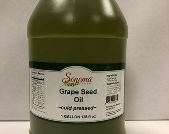 Grape Seed Oil Expeller Pressed Bulk 1 Gallon / 3.8 Liters /128oz -Food Service-