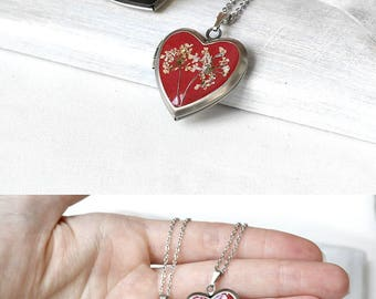 Red heart locket necklace women gift Boho jewelry love gift|for|her Terrarium drop necklace wife Branch necklace resin jewelry Clear resin