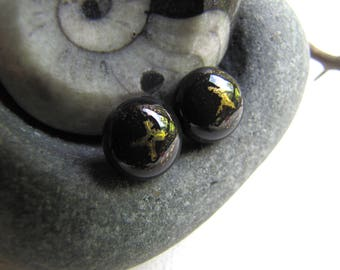 Gold and Black Stud Earrings, Bronze Starry Night Studs, Black and Bronze Studs, Black Studs, Black Glass Studs, Night Sky Studs, LBD Studs