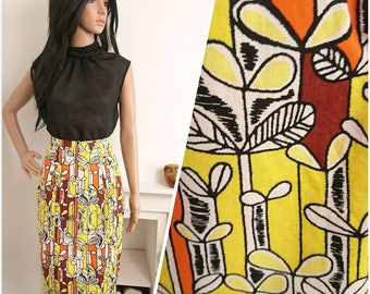 Vintage 1960s Cotton Yellow Orange Abstract Leaf Pencil Wiggle Skirt 50s / UK 8 / EU 36 / US 4