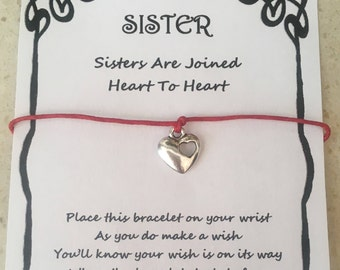 Sister, card, wish bracelet, charm, bracelet, gift, joined heart to heart, quote, various charms and colours