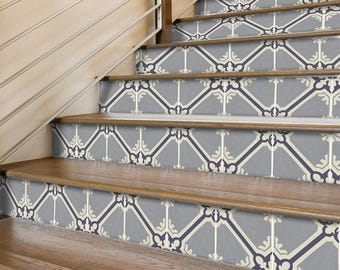 "Stair Riser Stickers - Removable Stair Riser Vinyl Decals - Samsara Grey Pack of 6 - Peel & Stick Stair Riser Deco Strips - 48"" long"