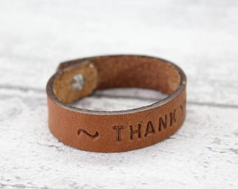 Leather bracelet in Italian Vacchetta - Personalized bracelet - Custom cuff bracelet engraved - Leather cuff - gift for him - gift for her