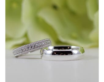 Bride And Groom Wedding Band Ring Set In Sterling Silver 5MM