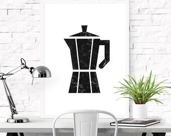 Moka pot, Coffee print, Digital print, Printable art, Scandinavian print, Minimalist art print, Kitchen art prints, Kitchen print