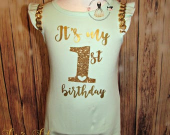 Its my 1t Birthday || Girls 1st birthday outfit || Mint Green and Gold Birthday Outfit || Birthday Romper || Baby Romper