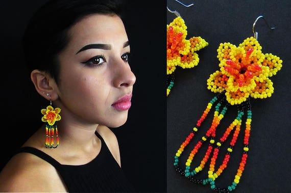 Yellow Huichol Flower Earrings, Mexican Beaded Flower Earrings, Native American Style Beaded Earrings, Beaded Huichol Earrings, Authentic