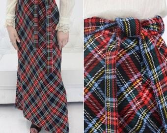 Classic Long Skirt, Floor Length Skirt, Long Plaid Skirt, Long Skirt, Flare Skirt, Vintage Plaid, Wool Skirt, Skirt with Belt, Plaid Skirt
