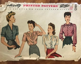 Simplicity 4865 - 1940s Button Front Blouse with Ruffle Front, Peter Pan Collar, and V Neck Options - Size 14 Bust 32