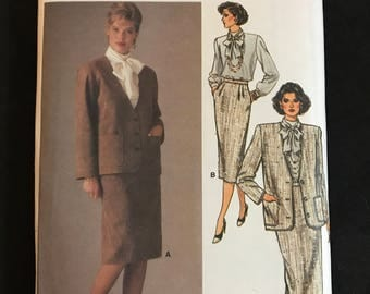Vogue 9359 - 1980s Jacket, Bow Tie Blouse, and Straight Skirt in Knee or Below Knee Length - Size 12 14 16