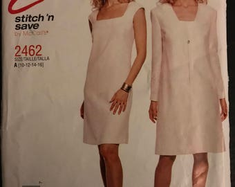 McCalls 2462 - Stitch N Save Twin Set with Sheath Dress and Long Sleeved Jacket - Size  10 12 14 16