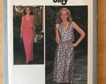 Simplicity 8955 - 1970s Blouson Bodice Sleeveless Dress in Midi or Maxi Length - Size 14 Bust 36